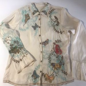 Embroidered Butterflies Silk Blouse Bell Sleeves L